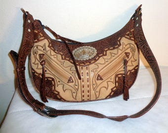 Ariat equestrian  hobo,  satchel, cross body bag, hiprster purse in thick high quality  genuine leather vintage  90s pristine condition