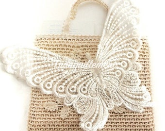 2 Large Off White Butterfly Bag Wedding Cocktail Dress Gown Sew On Appliques Embellishment Doilies Decorations