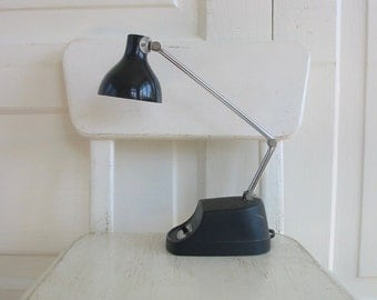 Mid Century Desk Lamp, Vintage Desk Lamp, Office Lamp, Vintage Metal Lamp, Metal Goose Neck Lamp, Black Desk Lamp, Office Lamp