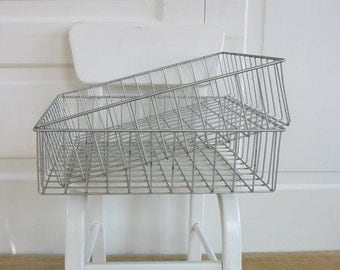 Vintage Metal Wire Basket, Square Baskets, Metal Baskets, Pair Wire Baskets, Industrial Storage, Industrial Basket, Wire Trays, Metal Basket