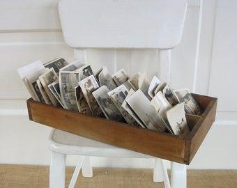 Vintage Wood Divided Box, Wood Storage Box, Primitive Industrial Supply Storage, Wood Slotted Box, Ephemera Storage, Vintage Wood Box