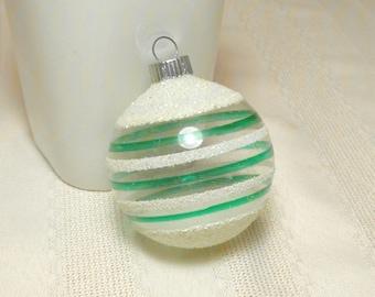 RARE Vintage Shiny Brite Heavy MICA Unsilvered Ornament Retro 1940s WWII Striped Christmas Ball Decoration Green White Excellent Condition