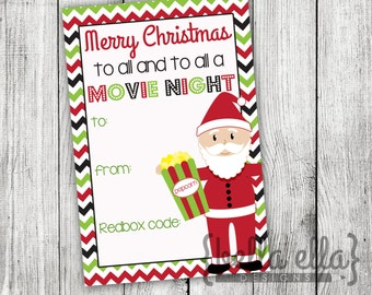 Christmas Movie Night Card with redbox code