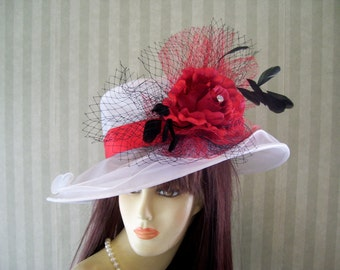 Kentucky Derby Hat, Preakness Hat, WhiTe and ReD Hat, Wedding Hat, Church Hat, Easter Hat, Ascot Hat, Downton Abbey Hat By Ms.Purdy