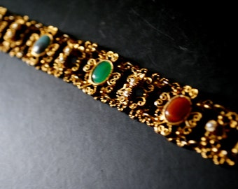 Victorian style vintage 80s gold tone metal filigree , links bracelet with aa multicolor gemstones and faux pearls.Made by LJM.
