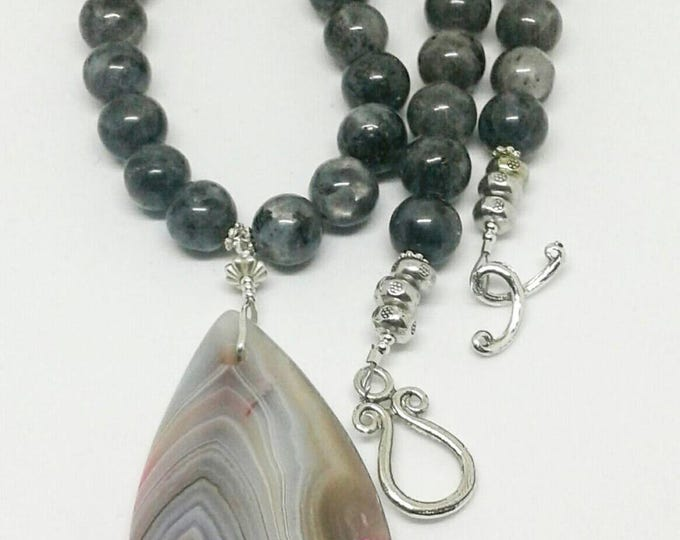 Item # 201716 Ms. Grace, Labadorite and Agate Necklace and Earrings Set, 20 Inches Long, Handmade, Handcrafted, Gemstone Jewelry