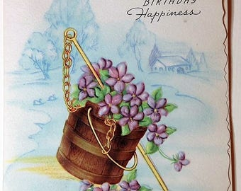 Vintage Birthday Greeting Card NOS with Violets