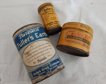 3 Collectible Cans - Vintage Display - Miniatures - Men's Collectibles 1915-1940