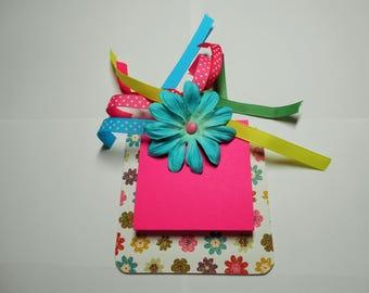 Mini  note holder, note holder, sticky notes holder,  note pad holder, note pad, desk pad, pink and aqua, desk, pad, desk pad holder