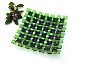 Fused glass squares plate, double green