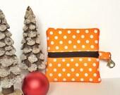 Orange gift card holder, cute zip pouch, cute earbuds case, polka dot bag, front zip pouch, change purse, gifts under 10, teacher gift