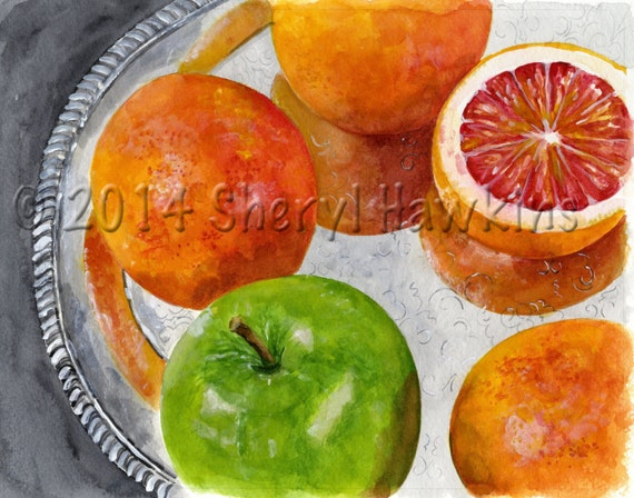 Painting - Blood Oranges on Silver Tray - watercolor print