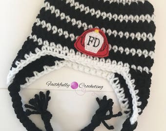 Newborn earflaps hat.. black and white hat.. fire department feltie.. photography prop.. ready to ship