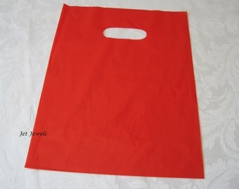 50 Red Glossy Bags, Red Plastic Bags, Gift Bags, Merchandise Bags, Retail Bags, Shopping Bags, Plastic Gift Bags, Bags with Handles 9x12