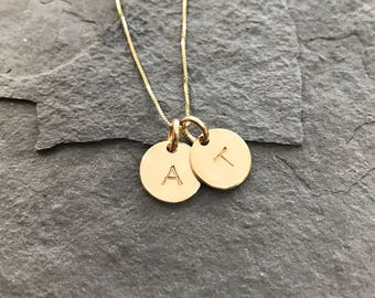 14K Solid Gold Letter Charm Necklace - Hand stamped & Personalized for You