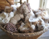 Washed Alpaca Fiber Potpourri of Natural Colors, Many Textures, Coarse to Fine, Needle Felt Mix, Browns, Black, Beige, Short & Long, Spin