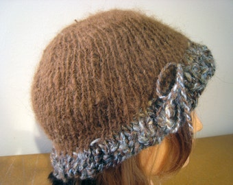 Handspun Alpaca Hat Light Brown Hand Knit Cap Warm Beanie Women's Hat Medium Size Fits Most Brown Fedora Blue Adjustable Tie Rain Resistant