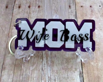 Wife-Mom-Boss acrylic keychain.  Dark purple, white and black. Mother's Day gift.  Ready to ship.