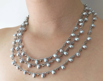 Chain Stitch Necklace Kit - Silver Pearl