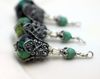 Vintage Style Chrysocolla and Czech Turquoise Bead Dangle Charm Pendant Earring Set