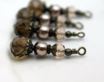 Vintge Style Smokey Topaz Crystal with Tan Rondelle and Pearl Bead Earring Dangle Charm Drop Set Pendant