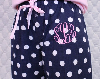 Monogrammed Women's and Girls Polka Dot Pajama Pants