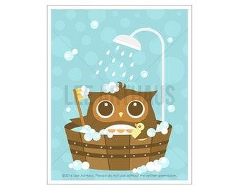30A Owl Nursery Print - Owl in Wooden Bathtub Wall Art - Bathroom Art - Art for Children - Bath Decor - Bathroom Print - Owl Print - Owl Art