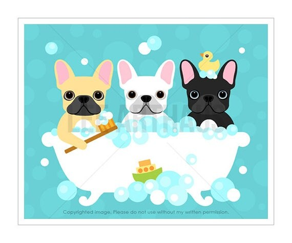 96D Bath Print - Three French Bulldogs in Bubble Bath Wall Art - Bathroom Wall Decor - Dog Print - Dog Lover Gift - French Bulldog Print