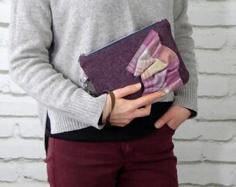 Handmade woollen wristlet clutch bag, Wool bag with applique detail in plaid woollen fabric, Handmade unique bag