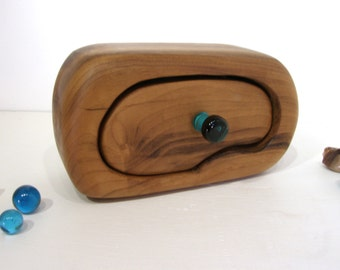 Oregon Myrtlewood Box, lamp work glass knob, wedding gift, 5th wedding anniversary, keepsake box, wood anniversary, jewelry box, wood drawer