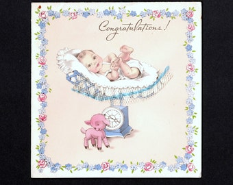 Vintage Congratulations Greeting Card for Baby with add on items