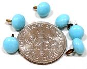 "Tiny BUTTONS, 6 Petite blue glass. Doll size, 1/4""."