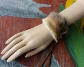Real vintage dingo fur bracelet with recycled leather straps for neotribal costume and festival wear