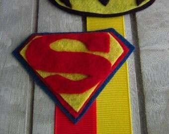 Superhero Bookmarks, Wool felt bookmarks, Superman bookmarks,  Batman bookmarks,superheroes, book lovers, bookmarks