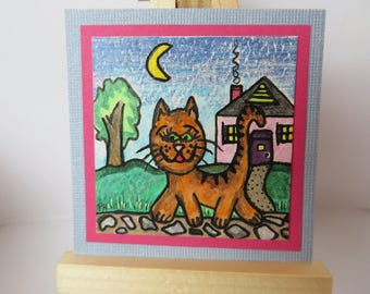 "Kitty Kitty Miniature Painting Colored Pencil Watercolor 2"" wide X 2"" tall for dollhouse or collecting"