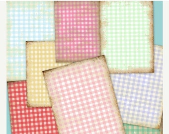SALE GINGHAM BACKGROUNDS Collage Digital Images -printable download file Digital Collage Sheet Vintage Paper Scrapbook