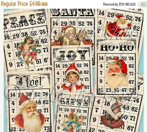 SALE CHRISTMAS BINGO CARdS Printable Digital Images -printable download file- Printable Bingo Cards - digital images- digital download