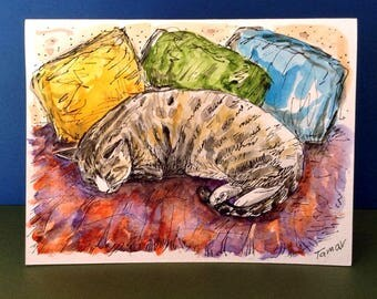 Tabby Cat Asleep with Three Pillows, Cat Card, Cat Paintng, Original Watercolor, Cat art, Cat Lover Gifts, Cat Stationery, Watercolor Cat