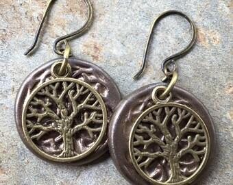 Metallic Brown Ceramic Layered Tree  Earrings