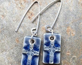 Blue Ceramic Rectangular Cross Earrings