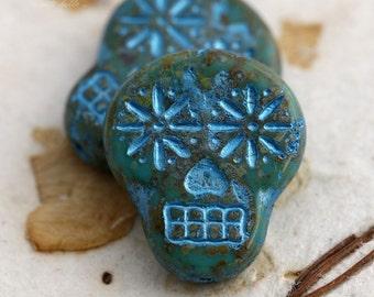 sale .. LICHEN BLUE SKULLS .. 2 Picasso Czech Sugar Skull Beads 20x17mm (5503-2)