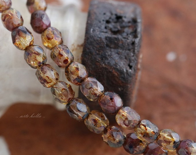 AMBER PLUMS .. New 50 Premium Picasso Faceted Czech Glass Beads 4mm (5663-st)