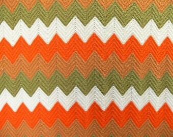 Vintage 70s Chevron ZigZag Striped Afghan Long Blanket Throw Orange Olive Brown White Knit Crochet Hippie Bohemian Twin Bed Coverlet