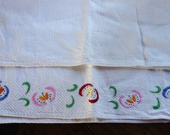 two  vintage waffle weave towels one embroidered 22x36 inches