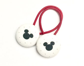 Mickey Mouse Button Hair Ties, Ponytail, Children's Hair Accessory, Mickey Mouse Hair Band, Child Pontail Holder, Disney Hair Accessory