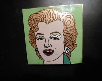 Vintage ANDY WARHOL  Marilyn ( Painting as Brooch)Authentic 1964 Cloisonne Marilyn Monroe Brooch