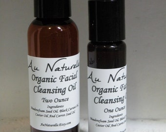 Organic Facial Cleansing Oil   -  One Ounce Or Two Ounce   -  All Natural  - Oil Cleansing Method