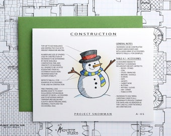 Project Snowman with Top Hat - Christmas Architecture Construction Card