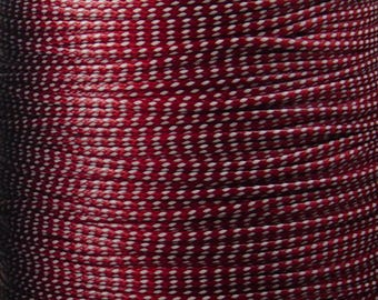 Cotton Wax Cord By the Yard White Red Stripe 1.5mm thick (1012cor02m1-11)