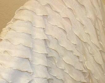 """1"""" Ivory Off White Ruffle Nylon Spandex Stretch Fabric BTY"""